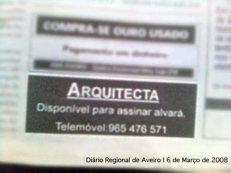 Anúncio no Diário Regional de Aveiro: Arquitecta disponível para assinar alvarás