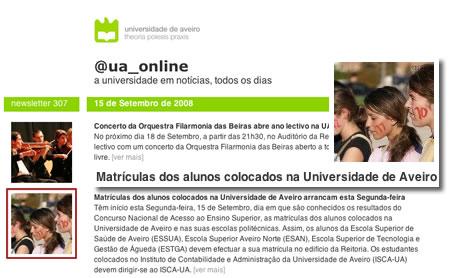 Matrículas dos alunos da UA ilustradas com fotografias da Praxe no boletim electrónico @ua_online