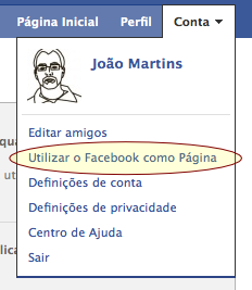 Utilizar o Facebook como página